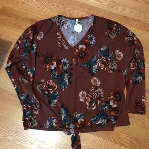 Rust floral long sleeve
